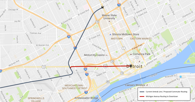 Detroit Commuter Rail Routing Map