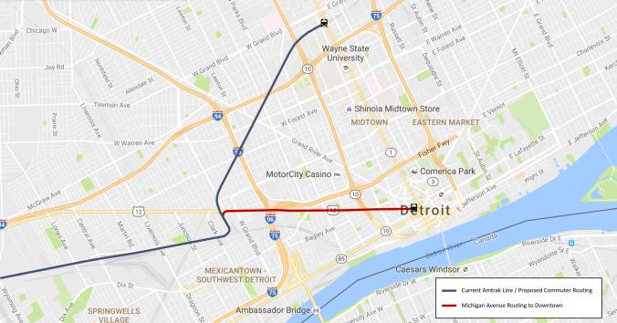 Detroit Commuter Rail Routing Map